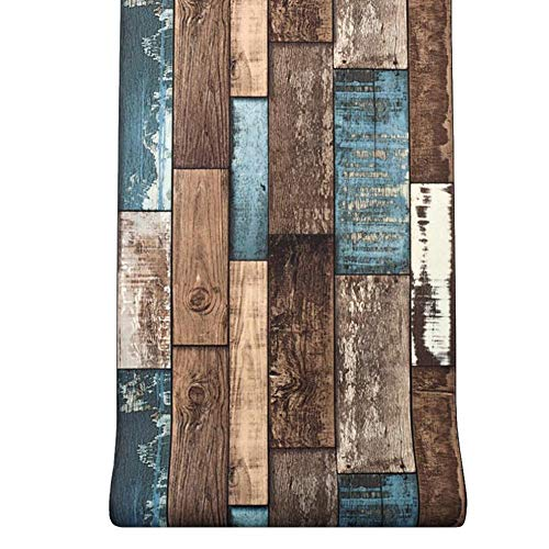 Vintage Wood Plank Wallpaper 0.5310m Frosted Wallpaper Old Rustic Distressed Wood Grain Texture Removable Decorative Faux Wooden Peel and Stick Film 3D Effect Decal Roll