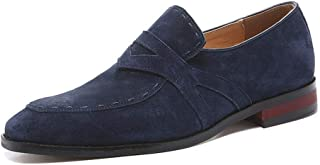 HaiNing Zheng Driving Loafer for Men Stitch Outdoor Casual Boat Shoes Slip on Soft Genuine Leather Pointed Toe Flat Heel Wear Resistant Anti-Slip (Color : Blue, Size : 9.5 UK)
