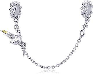 Abalorio con cadena de seguridad en plata de ley 925, compatible con pulseras Pandora,diseño Hada duende con cierre de cli...