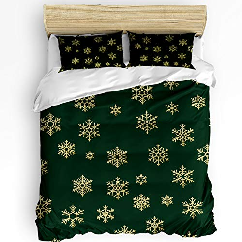 Chic Decor Home 3 Piece Bedding Sets, Christmas Snowflake Texture Duvet Quilt Cover Set for Childrens/Kids/Teens/Adults, 1 Quilt Cover with 2 Pillow Case,