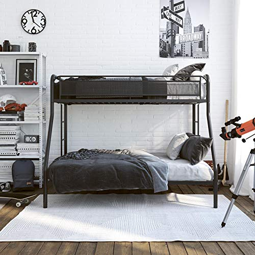 DHP Rockstar Metal Bunk Bed Frame, Sturdy Metal Design, Twin-Over-Full - Black