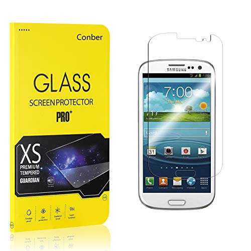 Conber (1 Pack) Screen Protector for Samsung Galaxy S3, [Scratch-Resistant][Anti-Shatter][Case Friendly] Premium Tempered Glass Screen Protector for Samsung Galaxy S3