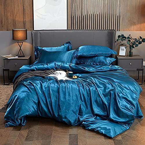 Exlcellexngce Bettbezug 140x 200,Sommer EuropäIscher Stil Gewaschene Seide EIS Seide BettwäSche Net Rot Seidig Hautfreundlich Atmungsaktives Seide Bettbezug-R_2.0m Bett (4 StüCke)