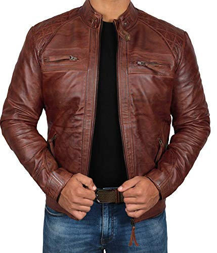 fjackets Brown Leather Jackets Men for Bikers - Distressed Lambskin Biker Brown Jacket Men | [1100085],Johnson Brown,XL