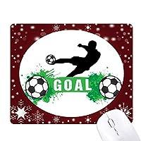 ペナルティキックのサッカー・スポーツ・テキスト オフィス用雪ゴムマウスパッド