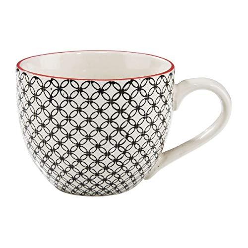 BUTLERS Retro Tasse 550ml - Schwarze Kaffeetasse Vintage Design – Hochwertige Porzellantasse, Kaffeebecher, bunte Tasse