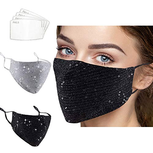 2 Pcs Adjustable Bling Sparkly Sequin Party Mask for Women Masquerade Pocket Mask with 4 Filters (black&silvery)