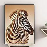 N / A Pintura de Lienzo Cuadros de Animales Decoración del hogar Pinturas de Pared de Cebra Decorar Carteles e Impresiones de la Sala Dormitorio sin Marco 40x60cm