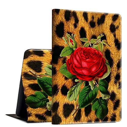 Rossy Funda para Amazon Fire HD 10 2021, Fire HD 10 Plus Tablet Case (11ª generación, 2021 lanzamiento), piel sintética, funda de TPU con soporte ajustable multiángulo, rosa leopardo