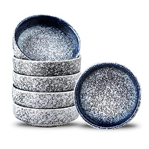 Uniidea - Juego de 6 platos de cerámica para condimentos de porcelana de 3,5 pulgadas (3,5 pulgadas), color azul y blanco