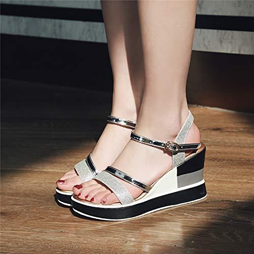 Shukun Dames sandalen Grote Maat Sandalen Vrouwelijke Zomer Voeten Brede Vet Dikke Bodem Wedge Hoge Hakken Vrouwelijke Open teen Romeinse Schoenen Dames Schoenen 40M