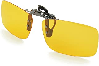 Besgoods Yellow Night Vision Polarized Clip-on Flip up Metal Clip Sunglasses Driving