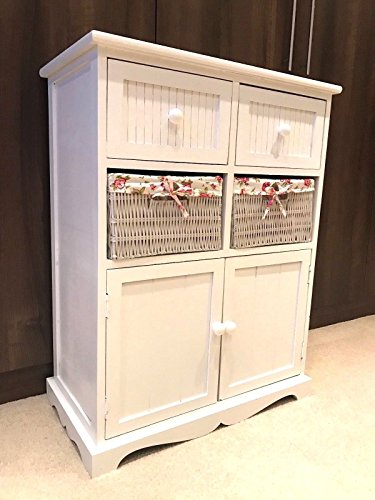Home Delights White Storage Unit 2 Cupboard 2 Wicker Drawer Basket Flower Pink Girls Furniture