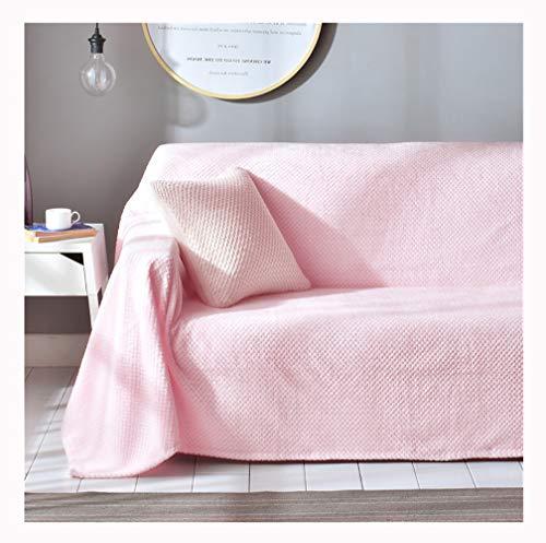 Colcha Multiusos,Fundas decorativas para sofás,Cubre Sofá Reversible y Acolchado,funda chaise longue brazo,mantas cubre sofas,Funda de cojín de protecci(Size:3 Seater(200*300cm),Color:Rosa claro)