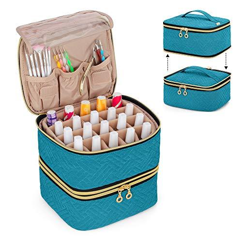 Luxja Nagellack Tasche Organizer, Aufbewahrungstasche für 40 Nagellackflaschen (bis zu 15 ml) und Nageldesign Zubehör, Doppelschicht Kosmetiktasche für Nagel Gel Sets, Blaugrün