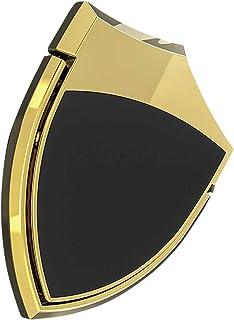 スマホリング ホールドリング 交換保証付 3M製強力粘着シール 金属製薄型フラットリング SHIELD RING シールドリング 盾や紋章をイメージしたリング 磁気カーマウントスタンドや磁石式ホルダーに装着可能 バンカーリング iPhone iPad iPod Galaxy Xperia スマートフォン タブレットPCを指1本で保持 落下防止 スタンド機能 (ゴールド)