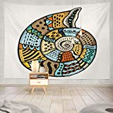 Groefod Tapiz de Pared Tapiz Decorativo Mandala-Animal, Seashell Artwork Beach Restaurant Menu Card Ticket Animal Tapiz para Colgar en la Pared