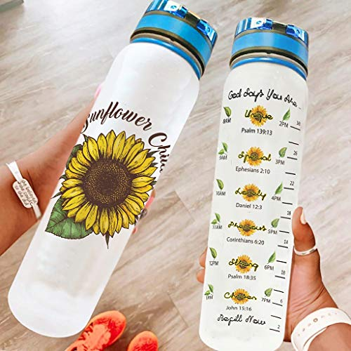 superyu Botella de agua de plástico con tapa tapa tapa tapa girasol niño Flip Top botella de agua de plástico para gimnasio blanco 1000 ml