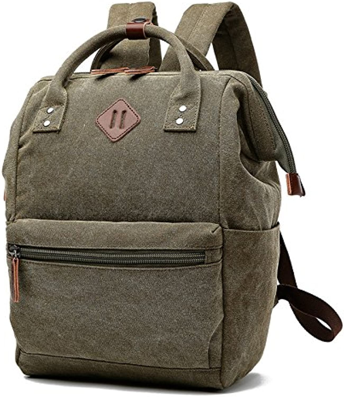 Pure color Wash Canvas Women Bag Large Capacity Casual Backpack Fashion Bag 25 cm  19 cm  36 cm, Army Green