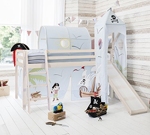 Noa and Nani - Midsleeper Cabin Bed with Slide and Pirate Pete Tent - (Whitewashed Pine)