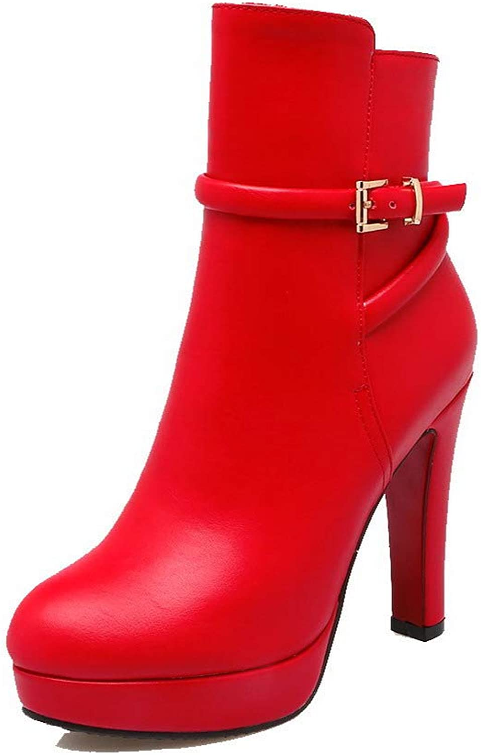 AllhqFashion Women's Round-Toe Low-Top High-Heels Solid Pu Boots, FBUXD118347