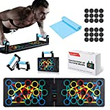 Jeteven Push-Up-Board, 24-in-1-Multifunktions-Muskelboard, Faltbar Liegestützgriffe, Tragbar Bodybuilding-Trainingsgeräte, Farbcodiertes Push-up-Board für Heimfitness-Trainingsgeräte