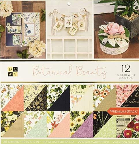 DieCuts with a View DCWV Premium Stack-12 x 12 doppelseitige botanische Schönheit, Goldfolie, 36 Sitzplätze, 614327, mehrfarbig