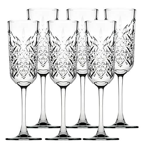 Pasabahce 440356 Sektglas Champagner Glas Timeless im Kristall-Design, Höhe ca. 22,5 cm, 17,5 cl, 6-teilig aus Glas