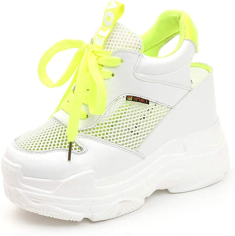 Women's Mesh Breathable Platform Wedge Heels shoes Height Increasing Female Flats Sneakers