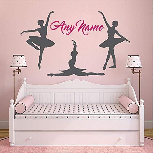 Pegatinas Pared Decorativas Disney Hermosa decoración del hogar nombre personalizado vivero nombre de ballet personalizado bailarinas arte de la pared mural chicas para dormitorio