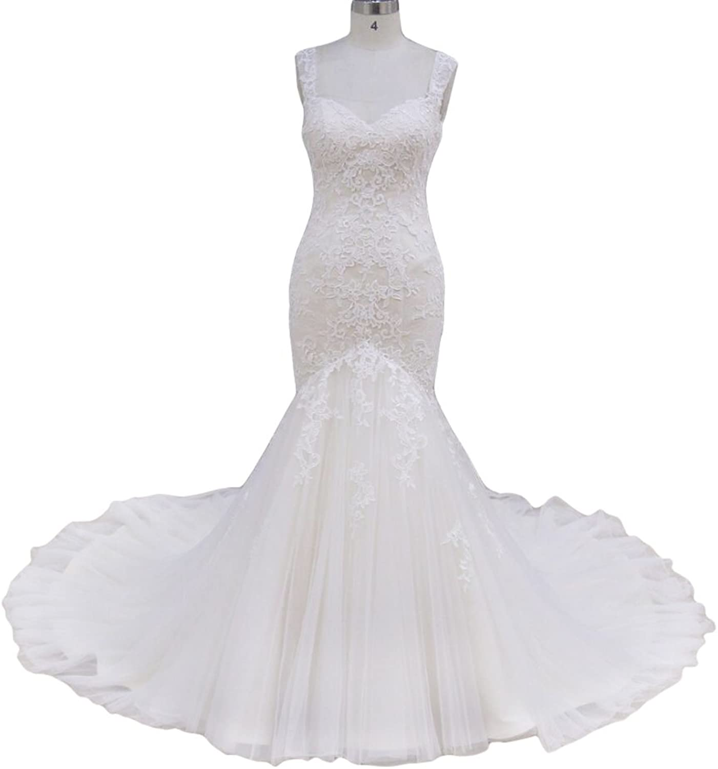 Special Bridal Glamgoldus Lace Appliqued Tulle Mermaid Wedding Dress