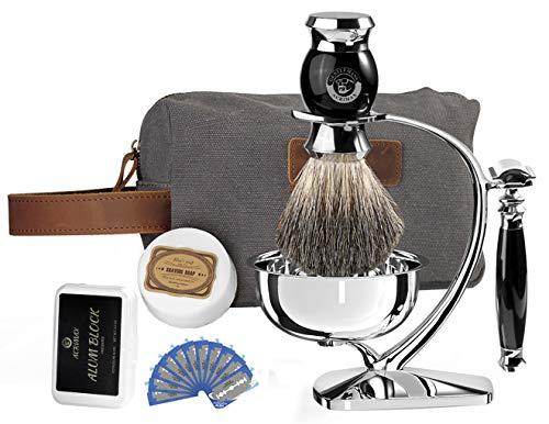 Luxury Premium Shaving Kit for Men Gift Set with Razor, ACRIMAX 8in1 Travel Shaving Set, Badger Hair Brush, Shave Soap, Alum Block, Shaving Stand, Soap Bowl and Canvas Dopp Kit