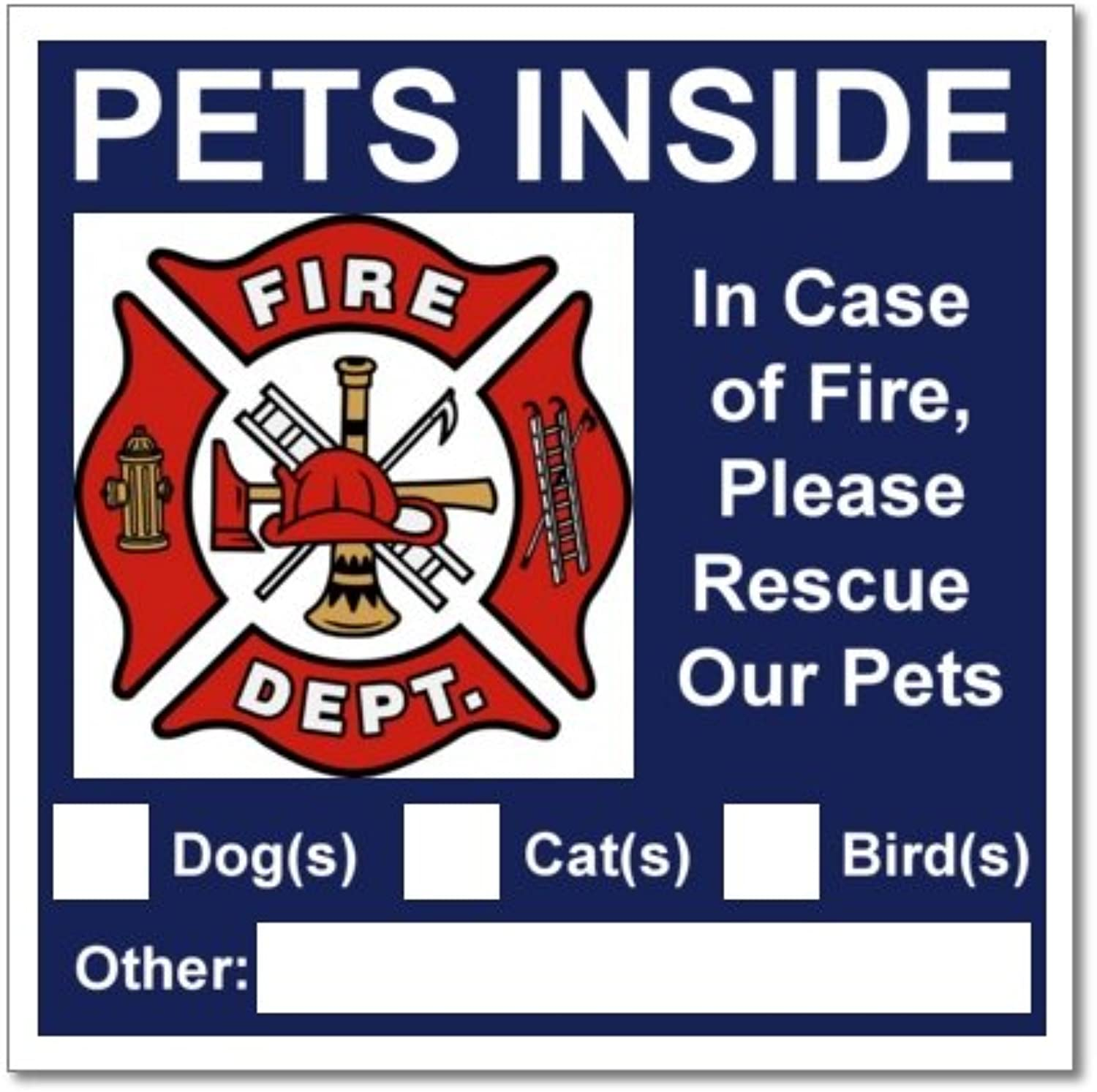 20 Pets Inside bluee Safety Alert Warning Window Door Stickers; In Fire or Emergency Notify Rescue Personnel to Save Pet