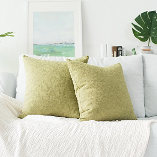 Kevin Textile Solid Velvet Decoration Toss Throw Pillow Case Cushion Cover Comfortable Soft Striped Decorative Pillowcase for Bed/Chair/Couch, 20'x20'(50cm), 2 Pieces, Greenery