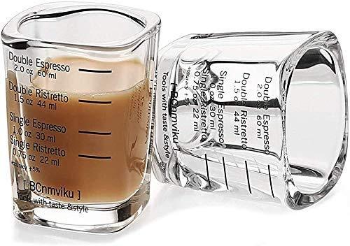 2 Stücke Glas Messbecher Espresso Shotglas mit Skala Mini Messbecher 60 ml Schnapsgläser Schwer Robust Shot Glas Quadratischer Becher Hitzebeständige Tasse für Flüssigkeiten Trockenstoff Transparent