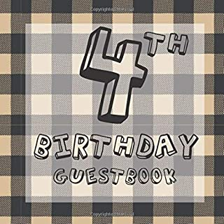 4th Birthday Guestbook: Rustic Woodland BBQ Lumberjack Garden Themed - Fourth Party Toddler Children Event Celebration Kee...