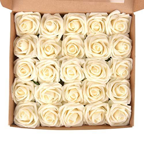 ewtshop 25 Stück weiße Kunstrosen, Schaumrosen für Blumensträuße oder als Ansteckrosen für Hochzeitsgäste, künstliche Blumen für Hochzeit
