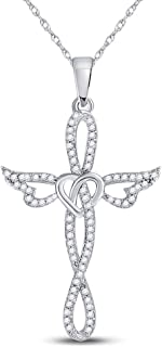 Dazzlingrock Collection 10kt White Gold Womens Round Diamond Cross Heart Winged Pendant 1/5 ctw
