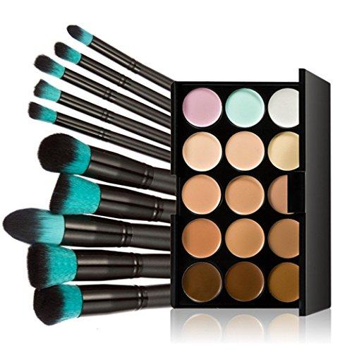 Fashion Base 15 Colors Contour Face Cream Makeup Concealer Palette With 10PCS Makeup Brushes Set Eyeshadow Brush (15 Color Concealer Palette& 10PCS Black and Blue Head Eyeshadow Brushes) by Fashion Base (TM)