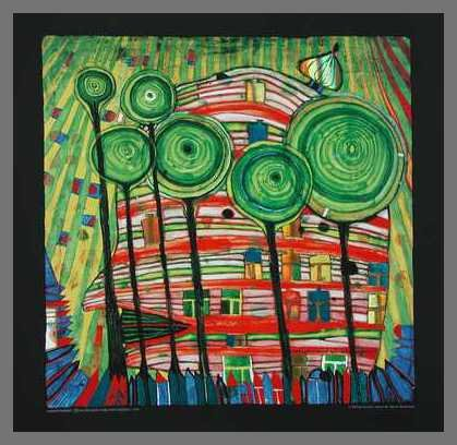 Hundertwasser Blobs Grow in Beloved Gardens Poster Kunstdruck Bild im Alu Rahmen in Champagne 48x48cm
