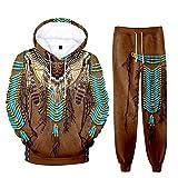 Conjunto de Pantalones de chándal con Estampado de tótem étnico Unisex de 2 Piezas con Capucha de Indio Nativo Americano Traje de chándal Informal