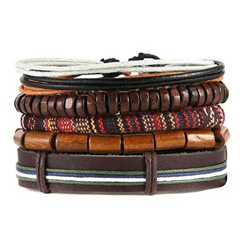 Scddboy Mix 4 Wrap Bracelets for Boys Girls,Hemp Cords Wood Beads Ethnic Tribal Bracelets
