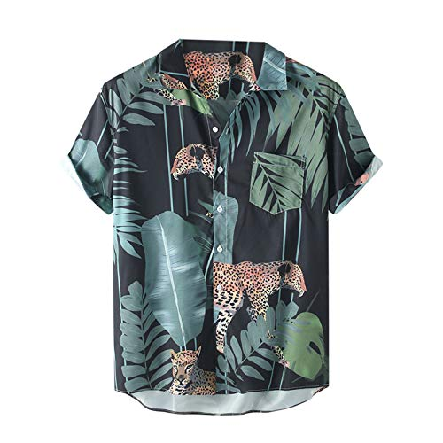 Männer Sett Shirts,Lässige Blumenhemd Plaid Kurzarm Mode Top Bluse(3XL,Grün