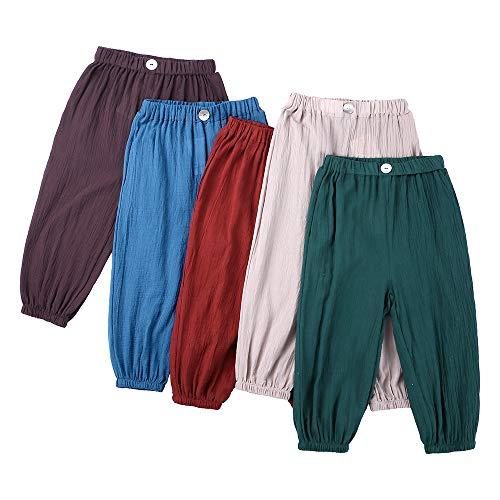 Niños Niñas Pantalones Largos Pantalón Casuales Verano Pantalones de Protección Solar Anti-Mosquitos Elástico Harem Pantalones Bloomers Pantalones Deportivos de Yoga
