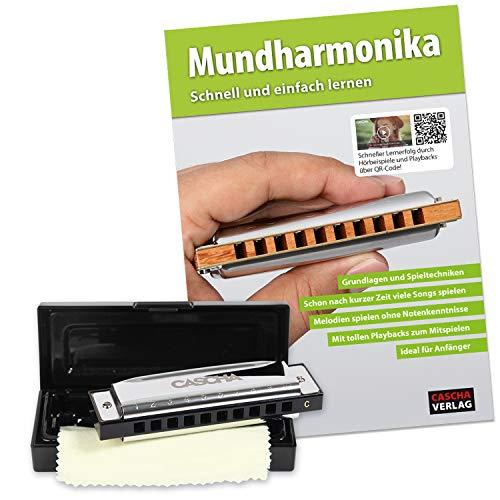 Cascha Blues Mundharmonika C-Dur Anfänger & Fortgeschrittene lern Set I Hochwertige 10-Loch diatonische Harmonika mit hochwertigen Messingstimmzungen inkl. Lehrbuch - QR-Codes - Hardcase - Putztuch