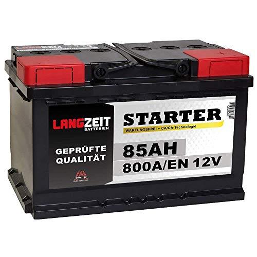 LANGZEIT Starter Serie 12V 77Ah - 85Ah Autobatterie Starterbatterie, KFZ PKW Batterie (85Ah)