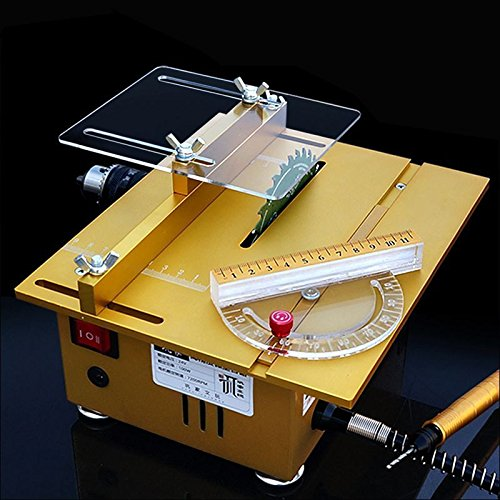 Multifunction Mini Table Saw Handmade Woodworking Bench Lathe Electric Polisher Grinder Cutting Machine with Sliding Ruler - Complete Configration