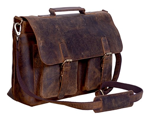 KomalC 18 Inch Buffalo Leather Briefcase Laptop Messenger Bag Office Briefcase College Bag for Men and Women