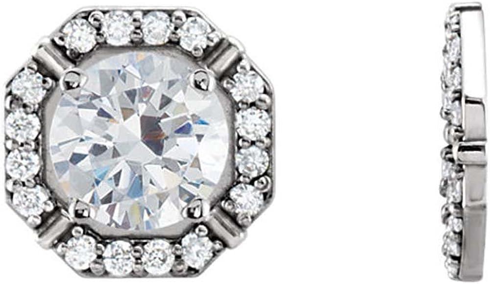 14K White Gold 1/6 CTW Diamond Earring Jackets