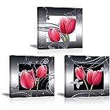 Piy Painting 3X Impresión de la Lona de Tulipanes Rojos Elegantes Florecen Cuadro en...